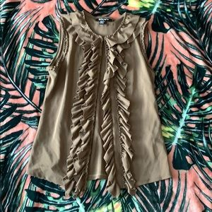 DKNY Brown Ruffle Top Size X Small